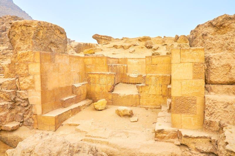 Η κατασκευή πετρών με hieroglyphs, Giza, Αίγυπτος στοκ φωτογραφία