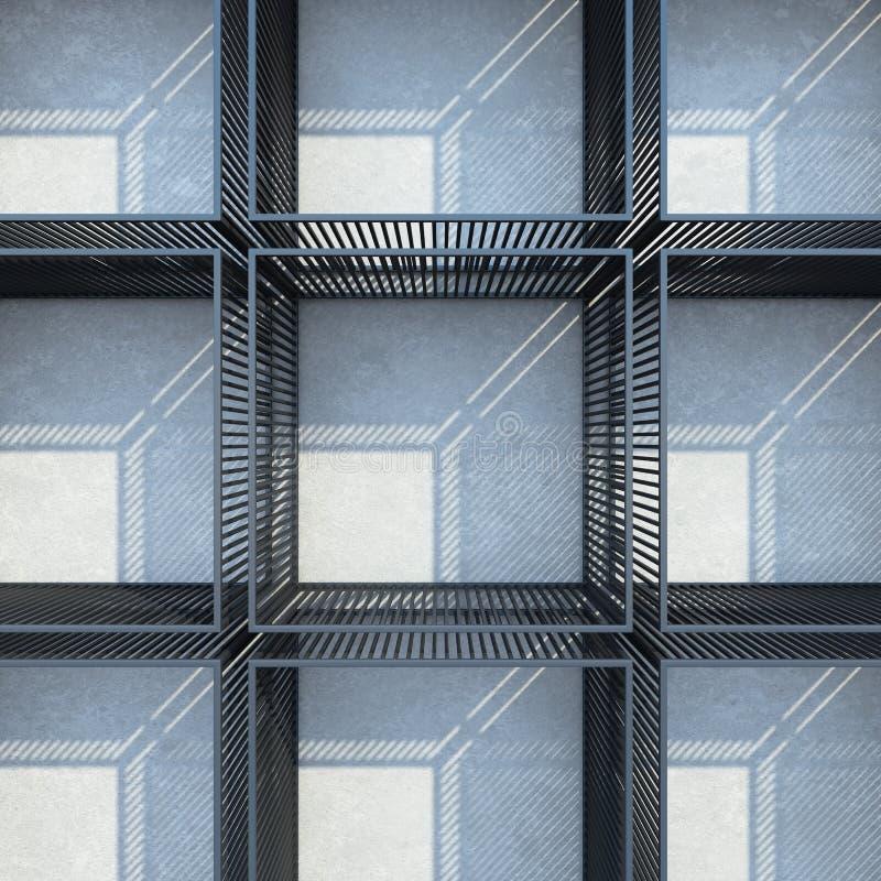 Η κατασκευή ραφιών μετάλλων στη σοφίτα εσωτερική, τρισδιάστατος δίνει στοκ φωτογραφία