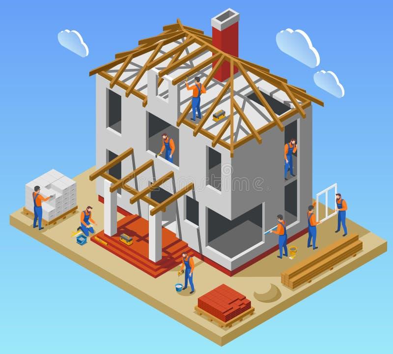 Η κατασκευή σπιτιών συγχρονίζει τη Isometric αφίσα ελεύθερη απεικόνιση δικαιώματος