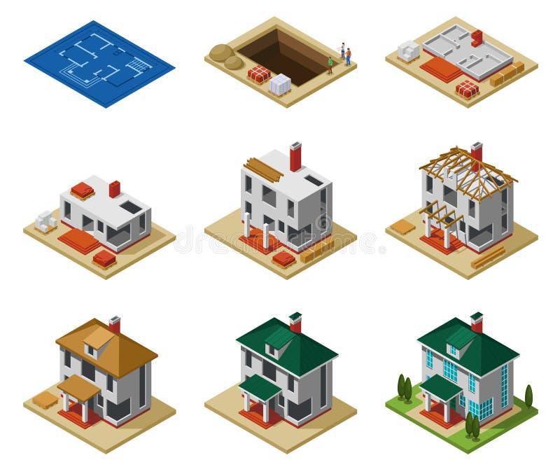 Η κατασκευή σπιτιών συγχρονίζει το Isometric σύνολο ελεύθερη απεικόνιση δικαιώματος