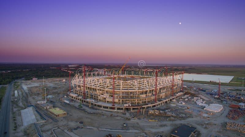 Η κατασκευή του γηπέδου ποδοσφαίρου για το πρωτάθλημα 2018 στοκ φωτογραφία με δικαίωμα ελεύθερης χρήσης