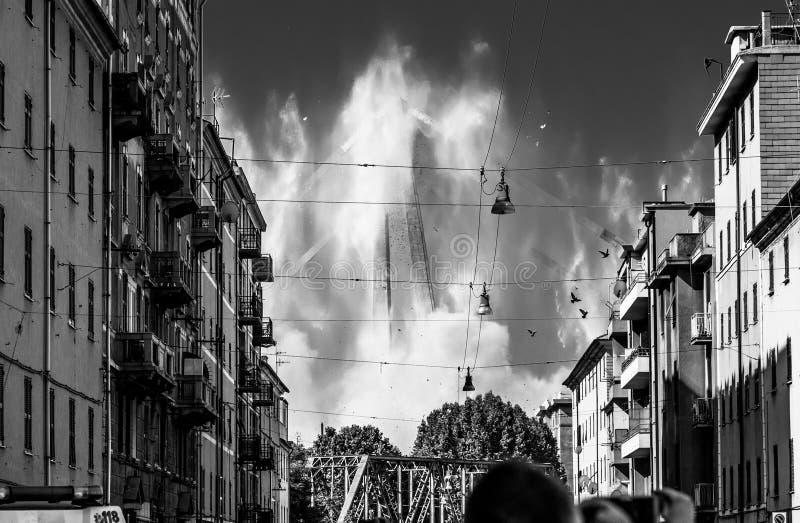 Η κατεδάφιση Ponte Morandi στη Γένοβα, Ιταλία στοκ φωτογραφίες με δικαίωμα ελεύθερης χρήσης