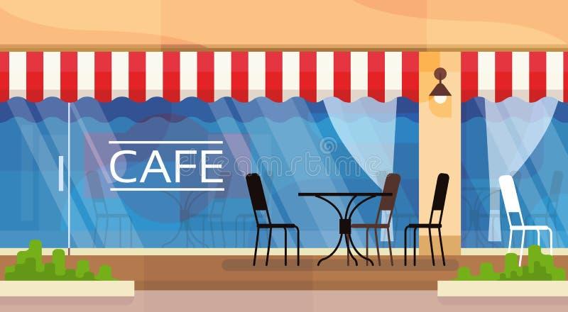 Η καφετερία οδών καφέδων προεδρεύει της επιτραπέζιας διανυσματικής απεικόνισης απεικόνιση αποθεμάτων