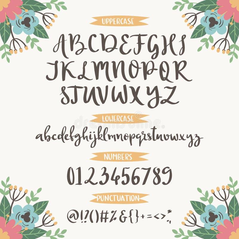 Η καλλιγραφική διανυσματική πηγή με τους floral αριθμούς φύσης ampersand και τα σύμβολα ανθίζουν συρμένη τη χέρι εγγραφή αλφάβητο διανυσματική απεικόνιση