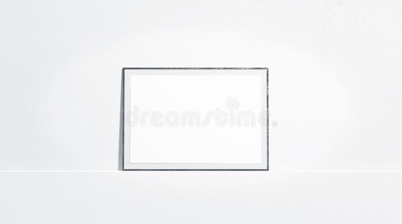 Η κενή άσπρη οριζόντια χλεύη αφισών εγγράφου στέκεται επάνω τον τοίχο στοών στοκ εικόνα με δικαίωμα ελεύθερης χρήσης
