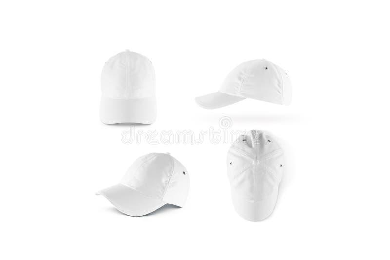 Η κενή άσπρη χλεύη καπέλων του μπέιζμπολ έθεσε επάνω στοκ εικόνες