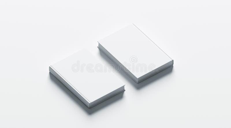 Η κενή άσπρη χλεύη βιβλίων hardcover έθεσε επάνω, αντιμετωπίζει και πίσω διανυσματική απεικόνιση
