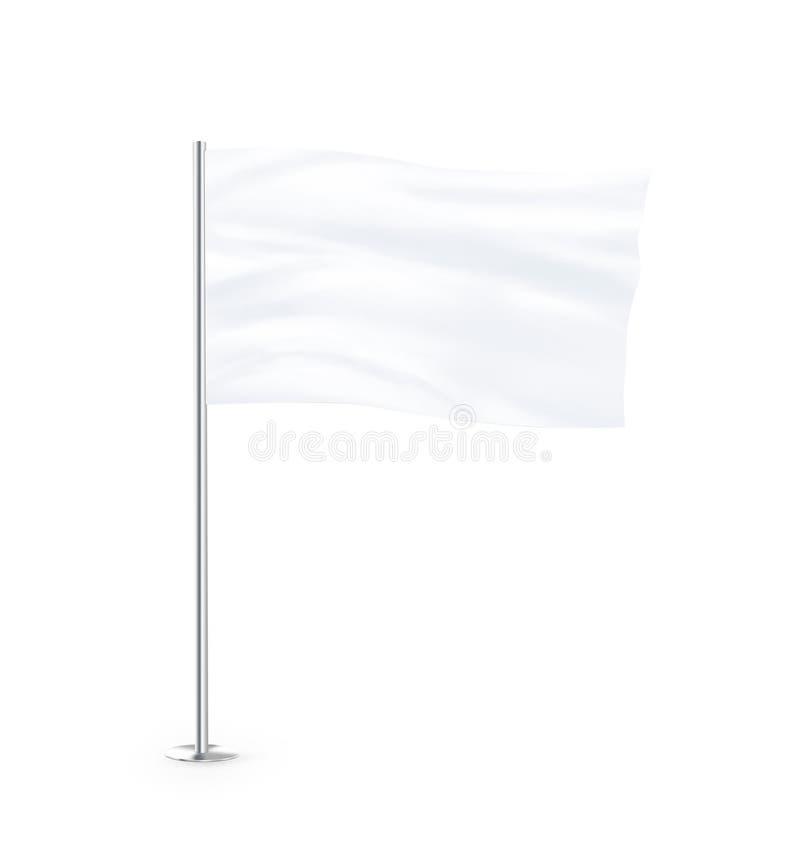 Η κενή άσπρη χλεύη σημαιών στέκεται επάνω απεικόνιση αποθεμάτων