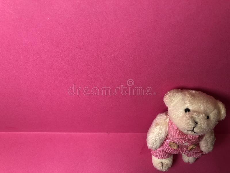 Η κενή κάρτα με χαριτωμένο teddy αντέχει τον αριθμό, έγγραφο σημειώσεων για το ρόδινο υπόβαθρο στοκ εικόνες με δικαίωμα ελεύθερης χρήσης