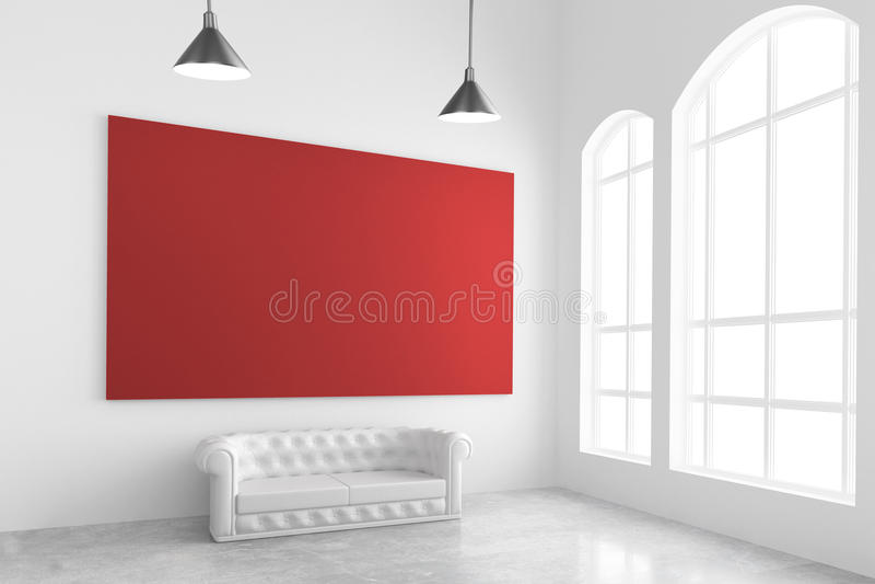 Η κενή κόκκινη αφίσα στον άσπρο τοίχο, καναπές, τσιμεντένιο πάτωμα και μεγάλος κερδίζει ελεύθερη απεικόνιση δικαιώματος
