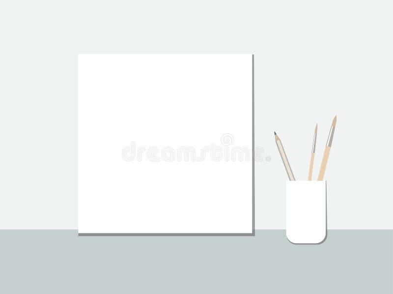 Η κενή Λευκή Βίβλος με τα μολύβια και τους θυσάνους που στέκονται στον πίνακα απεικόνιση αποθεμάτων