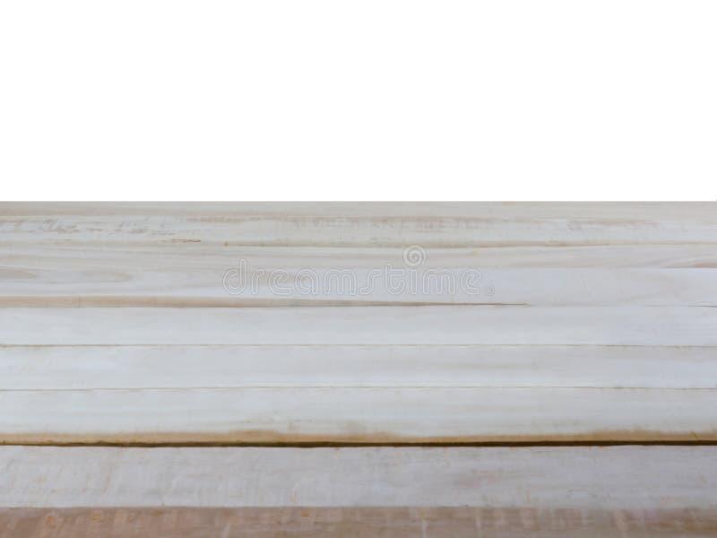 Η κενή ξύλινη επιτραπέζια κορυφή, απομονώνει σε ένα άσπρο υπόβαθρο στοκ φωτογραφίες με δικαίωμα ελεύθερης χρήσης