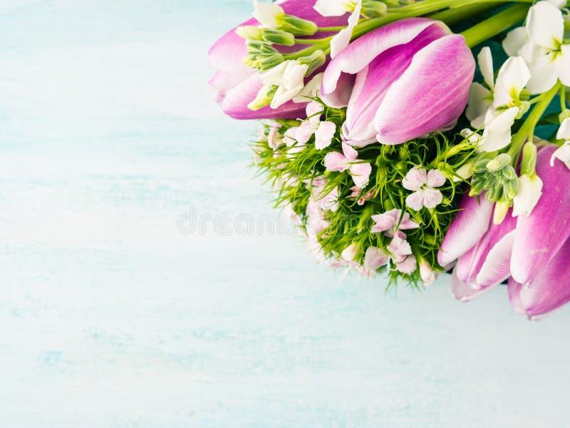Η κενή πορφυρή κάρτα ανθίζει τα χρώματα κρητιδογραφιών άνοιξη τριαντάφυλλων τουλιπών στοκ εικόνα με δικαίωμα ελεύθερης χρήσης