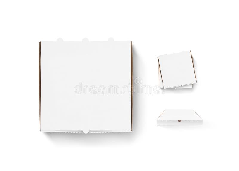 Η κενή χλεύη σχεδίου κιβωτίων πιτσών έθεσε επάνω απομονωμένος Χαρτοκιβώτιο που συσκευάζει το pi στοκ φωτογραφία με δικαίωμα ελεύθερης χρήσης