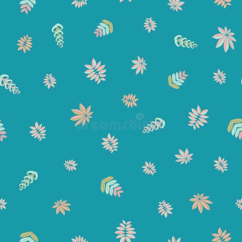 Η κεντητική ενέπνευσε το άνευ ραφής διανυσματικό σχέδιο με τα όμορφα τροπικά φύλλα Ζωηρόχρωμη διανυσματική λαϊκή floral διακόσμησ διανυσματική απεικόνιση