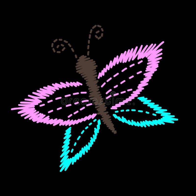 Η κεντητική ράβει τη μίμησης πεταλούδα που απομονώνεται στο μαύρο BA απεικόνιση αποθεμάτων