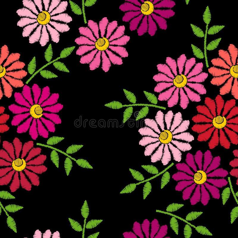 Η κεντητική ράβει το μίμησης άνευ ραφής σχέδιο με το λουλούδι διανυσματική απεικόνιση