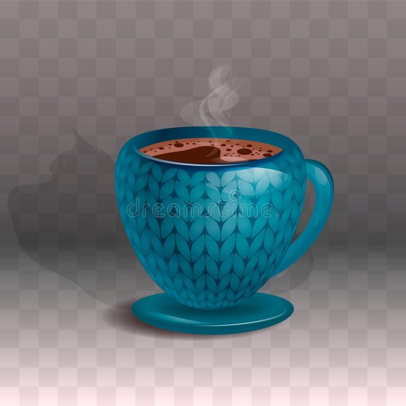 Η κεραμική μπλε κούπα καφέ με έναν όμορφο πλέκει την τυπωμένη ύλη Σε ένα διαφανές υπόβαθρο διανυσματική απεικόνιση