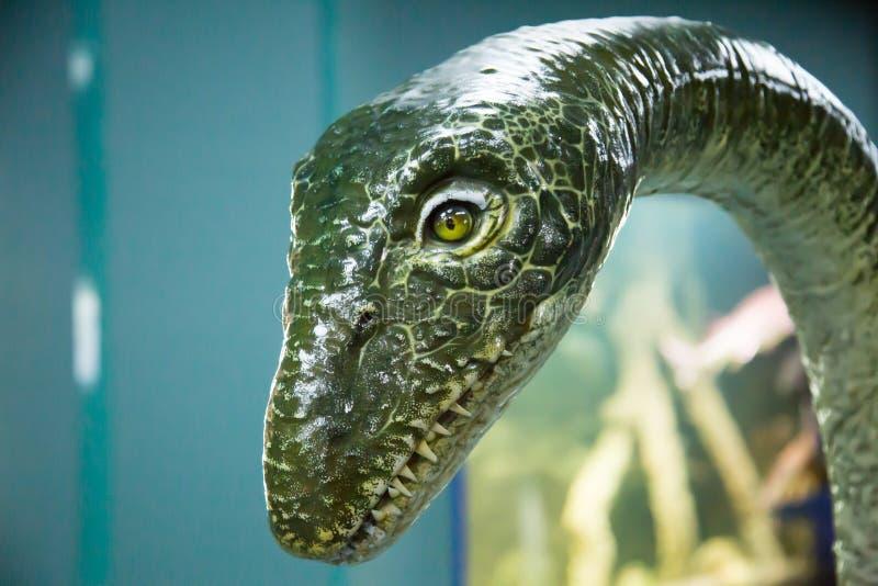 Η κεφαλή του δεινόσαυρου είναι πράσινη σε μπλε φόντο Πανίδα, προϊστορικά ζώα στοκ φωτογραφία