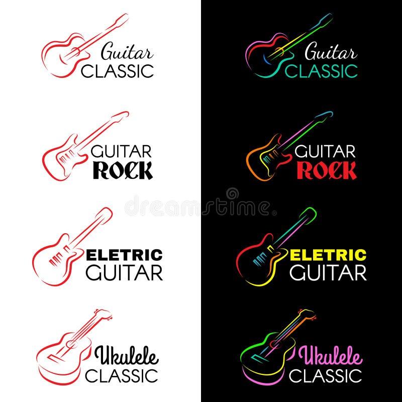 Η κιθάρα και ukulele η γραμμή σύρουν το διανυσματικό καθορισμένο σχέδιο λογότυπων διανυσματική απεικόνιση