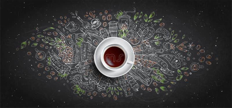 Η κιμωλία καφέ επεξήγησε την έννοια στο μαύρο υπόβαθρο πινάκων - άσπρο φλυτζάνι καφέ, τοπ άποψη με την απεικόνιση κιμωλίας doodle ελεύθερη απεικόνιση δικαιώματος