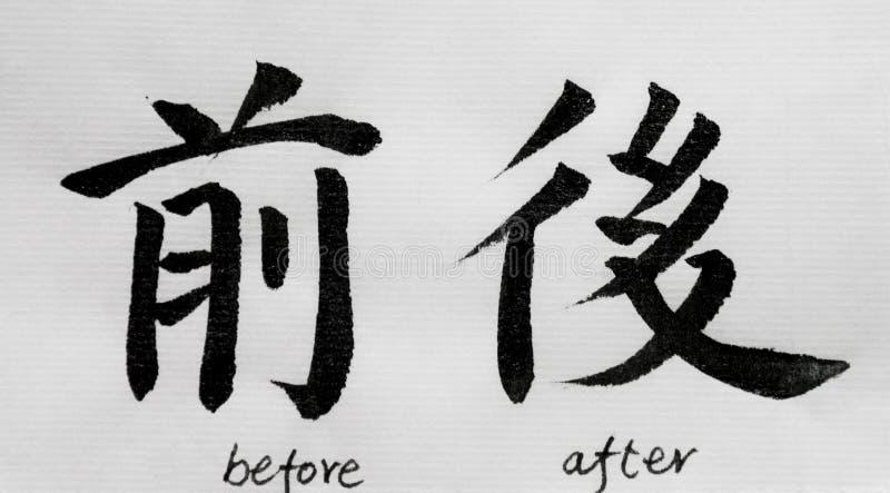 Η κινεζική καλλιγραφία σημαίνει ` πριν μετά από ` για Tatoo ελεύθερη απεικόνιση δικαιώματος