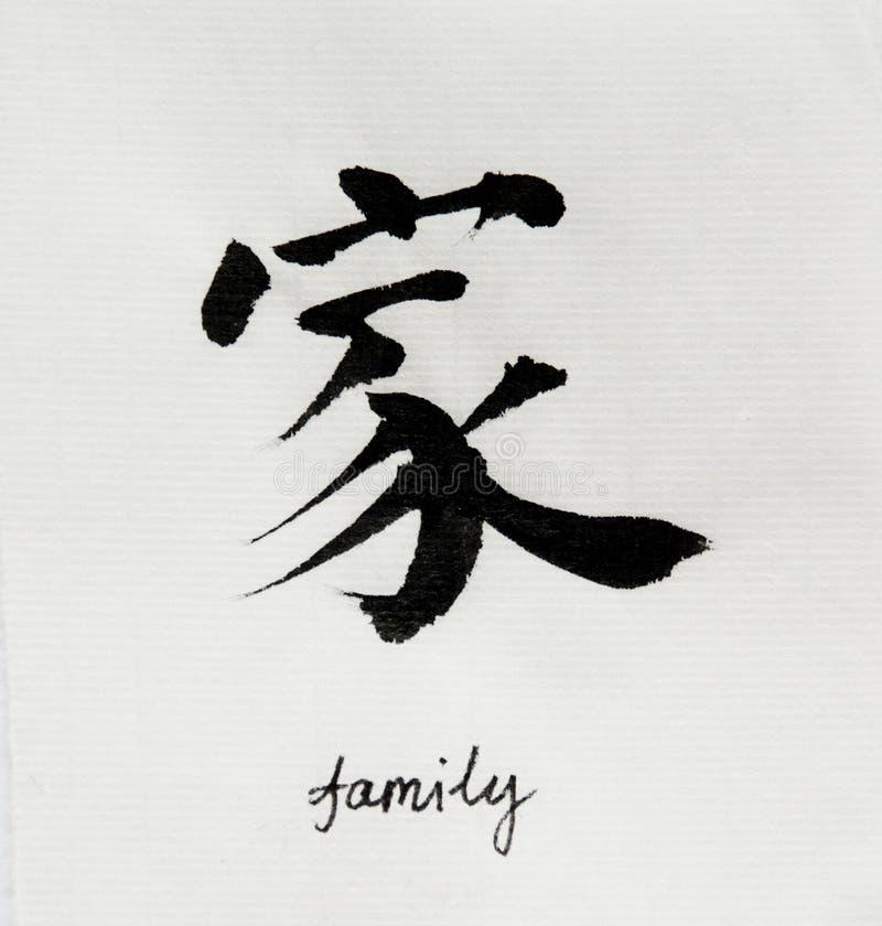 Η κινεζική καλλιγραφία σημαίνει την οικογένεια ` ` για Tatoo ελεύθερη απεικόνιση δικαιώματος