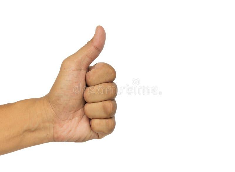 Η κινηματογράφηση σε πρώτο πλάνο του αρσενικού χεριού που παρουσιάζει αντίχειρες υπογράφει επάνω ενάντια στο λευκό στοκ εικόνες