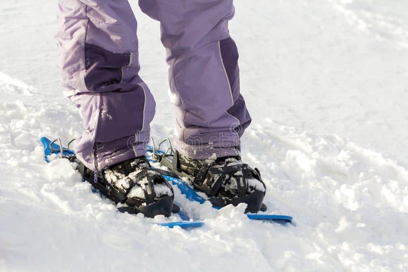 Η κινηματογράφηση σε πρώτο πλάνο των ποδιών σκιέρ ατόμων και τα πόδια στα κοντά πλαστικά φωτεινά επαγγελματικά ευρέα σκι στο άσπρ στοκ εικόνα