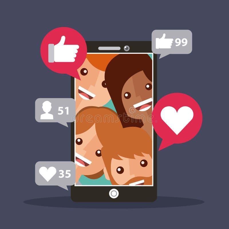 Η κινητή άποψη τηλεφωνικών οπαδών συμπαθεί ικανοποιημένος ελεύθερη απεικόνιση δικαιώματος
