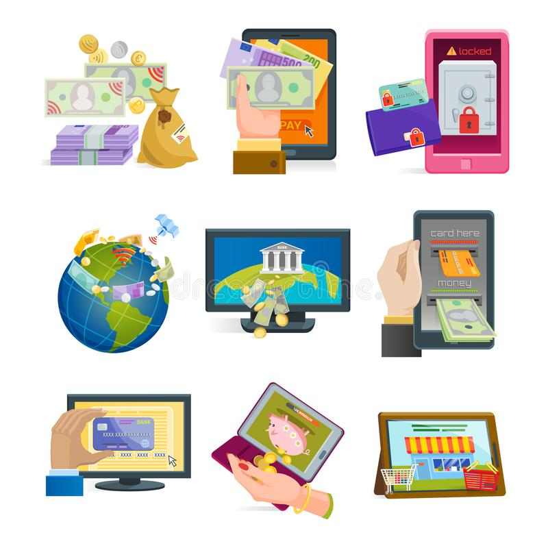 Η κινητή πληρωμών εικονιδίων διανυσματική smartphone συναλλαγής ηλεκτρονικού εμπορίου πίστωση τραπεζικών καρτών σύνδεσης πορτοφολ απεικόνιση αποθεμάτων