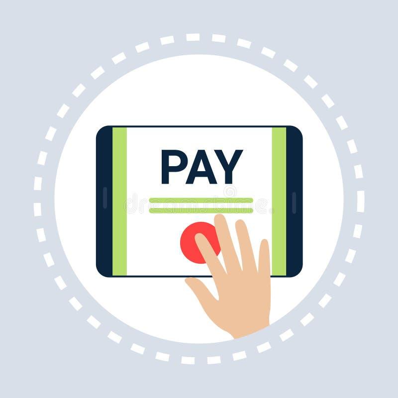 Η κινητή ώθηση δάχτυλων εφαρμογής πληρώνει στο κουμπί τη σε απευθείας σύνδεση έννοια εικονιδίων αγορών οριζόντια απεικόνιση αποθεμάτων