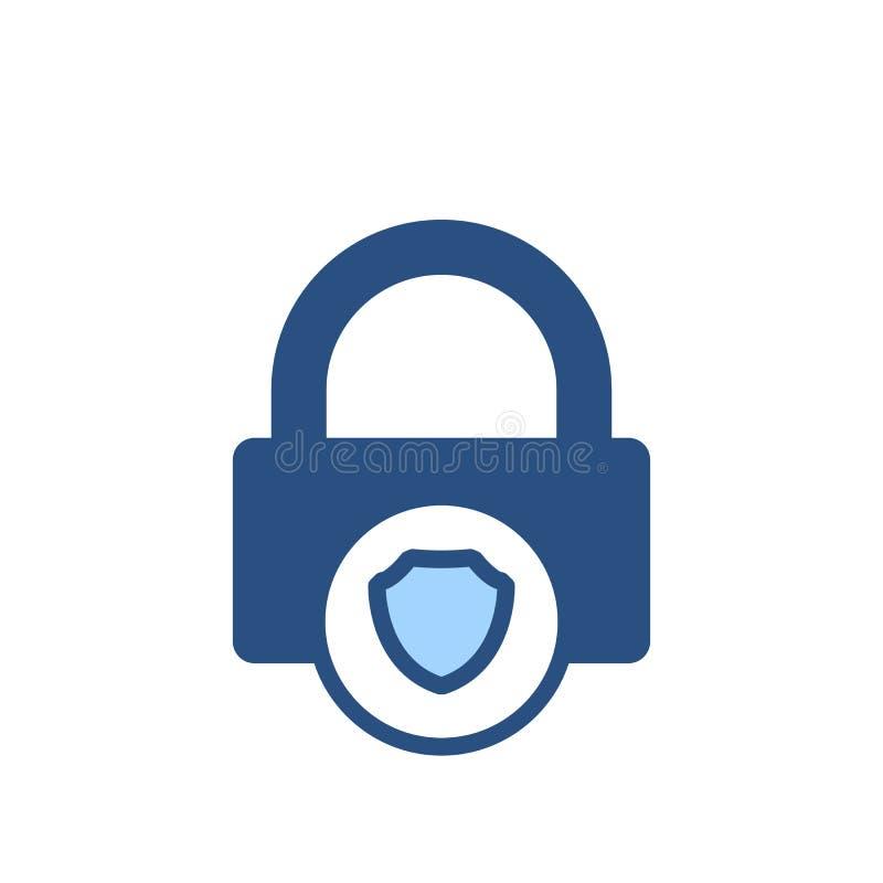 Η κλειδαριά αμυντικής φρουράς προστατεύει το εικονίδιο ασπίδων ασφάλειας προστασίας διανυσματική απεικόνιση