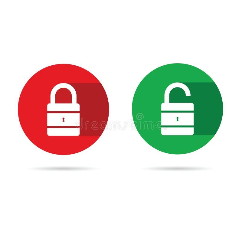 Η κλειδαριά και ξεκλειδώνει το εικονίδιο με το άσπρο λουκέτο ελεύθερη απεικόνιση δικαιώματος