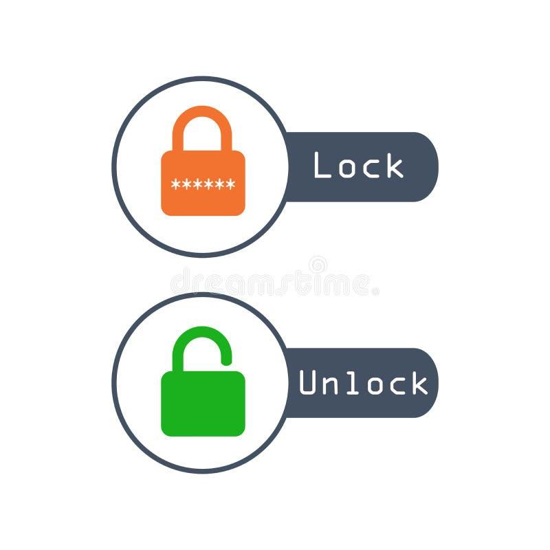 Η κλειδαριά ξεκλειδώνει το εικονίδιο με το πορτοκάλι κωδικού πρόσβασης και πράσινος στο καθιερώνον τη μόδα επίπεδο ύφος που απομο απεικόνιση αποθεμάτων
