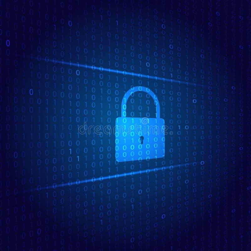 Η κλειδαριά προστατεύει το δίκτυο cyber σε ένα ψηφιακό υπόβαθρο ελεύθερη απεικόνιση δικαιώματος