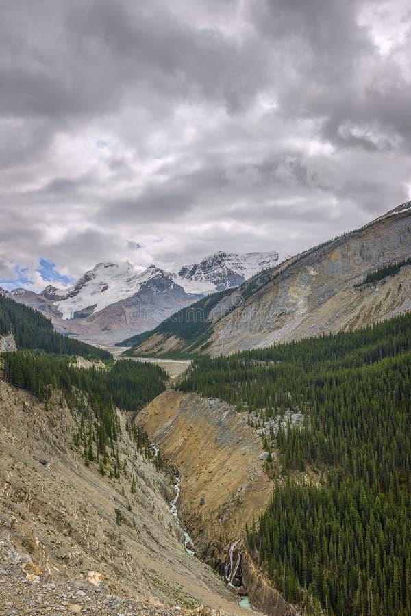 Η κοιλάδα Sunwapta και τοποθετεί Athabasca στοκ φωτογραφίες με δικαίωμα ελεύθερης χρήσης