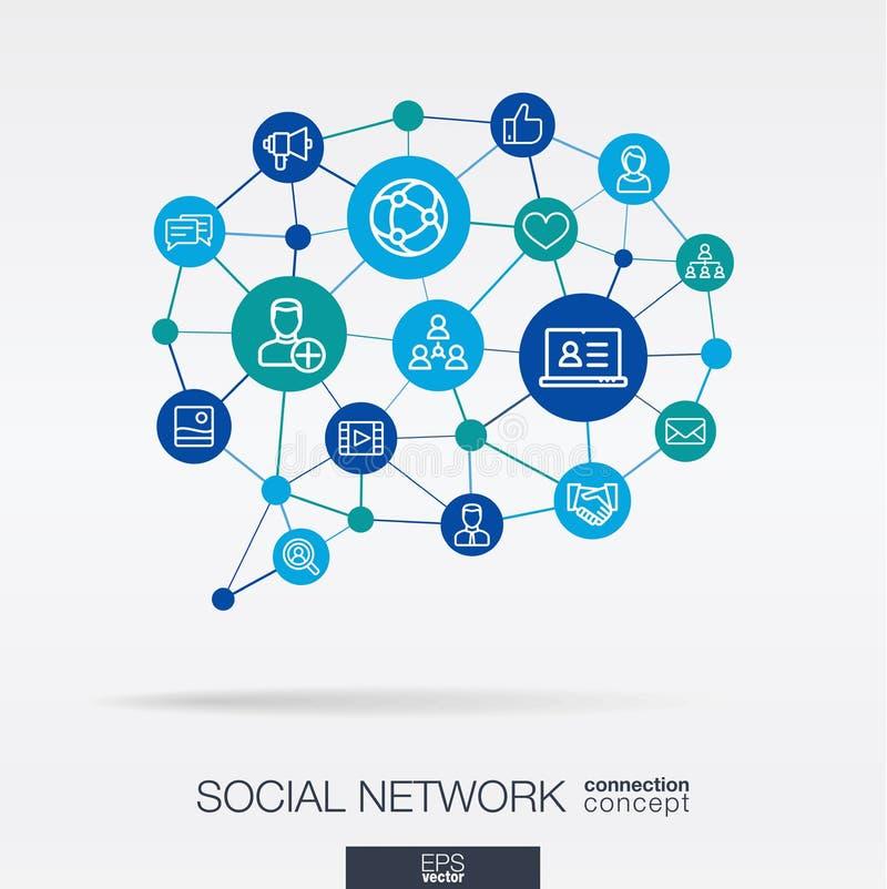 Η κοινωνία ενσωμάτωσε τα λεπτά εικονίδια γραμμών στη μορφή μηνυμάτων λεκτικών φυσαλίδων Ψηφιακή νευρική έννοια δικτύων ελεύθερη απεικόνιση δικαιώματος