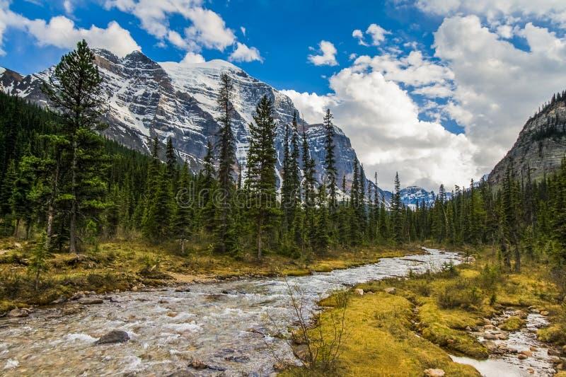 Η κοιλάδα παραδείσου και τοποθετεί το ναό σε Banff στοκ εικόνες με δικαίωμα ελεύθερης χρήσης
