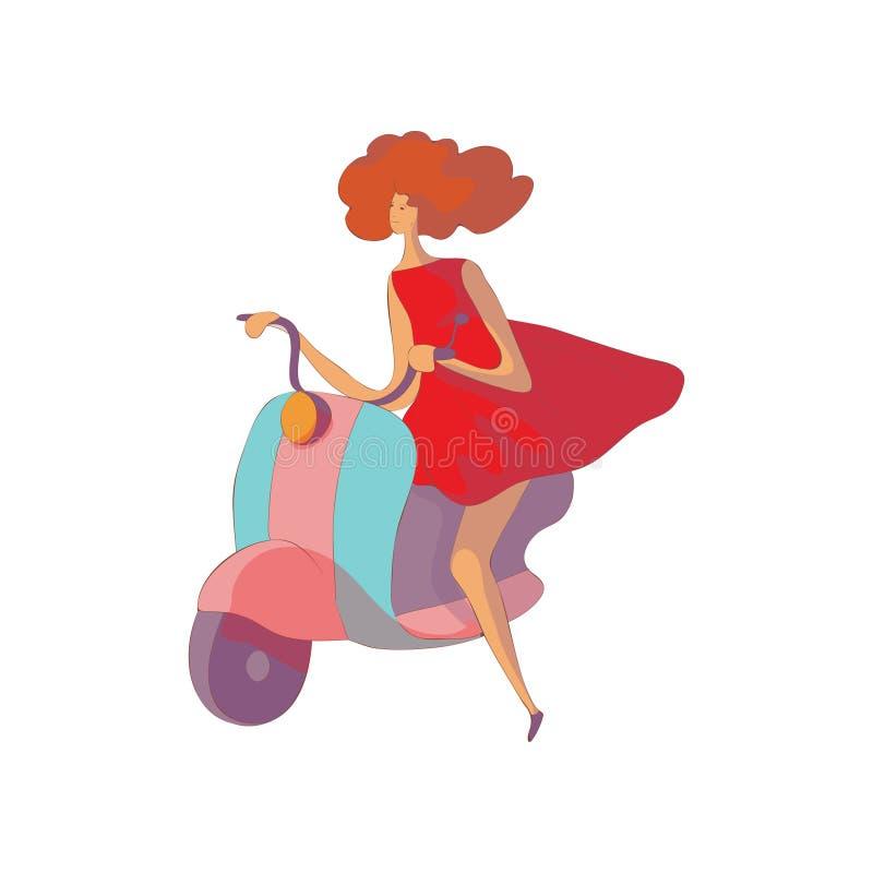 Η κοκκινομάλλης γυναίκα σε ένα φόρεμα οδηγά ένα μοτοποδήλατο E απεικόνιση αποθεμάτων