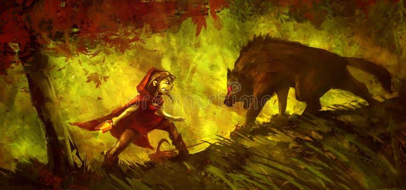 Η Κοκκινοσκουφίτσα παλεύει με έναν λύκο στο δάσος ελεύθερη απεικόνιση δικαιώματος