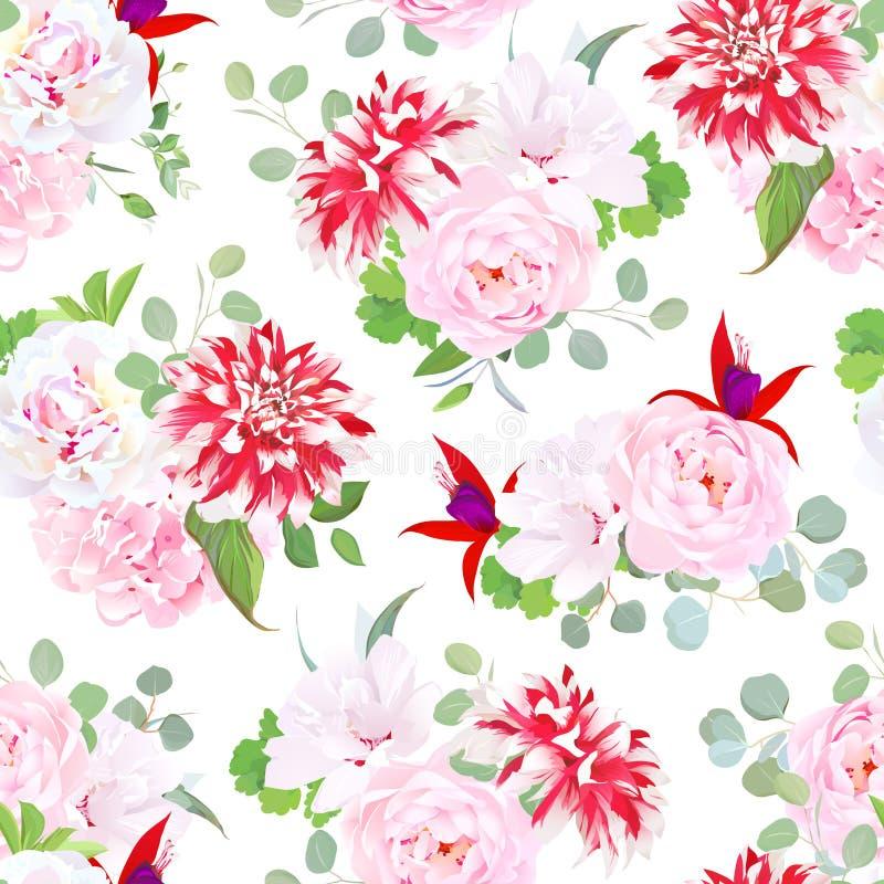 Η κομψή ετερόκλητη ντάλια, αυξήθηκε, hydrangea, φούξια, hibiscus άνευ ραφής απεικόνιση αποθεμάτων