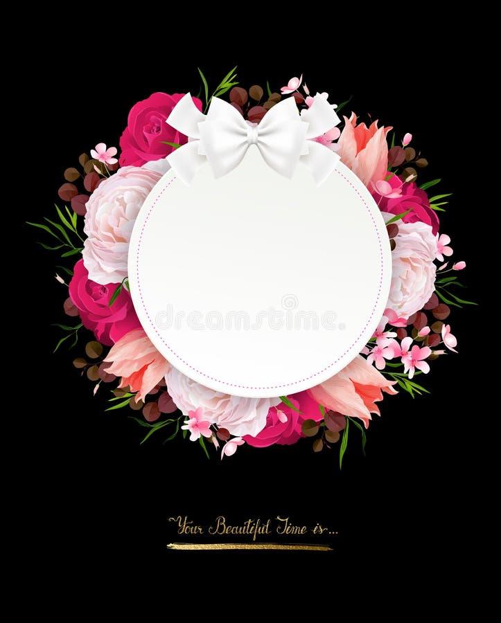 Η κομψότητα ανθίζει το πλαίσιο των τριαντάφυλλων χρώματος Σύνθεση με τα λουλούδια ανθών διανυσματική απεικόνιση