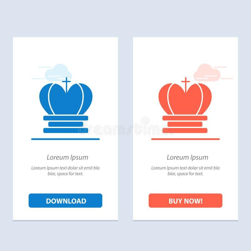 Η κορώνα, ο βασιλιάς, βασιλικός, η αυτοκρατορία μπλε και το κόκκινο μεταφορτώνουν και αγοράζουν τώρα το πρότυπο καρτών Widget Ιστ απεικόνιση αποθεμάτων