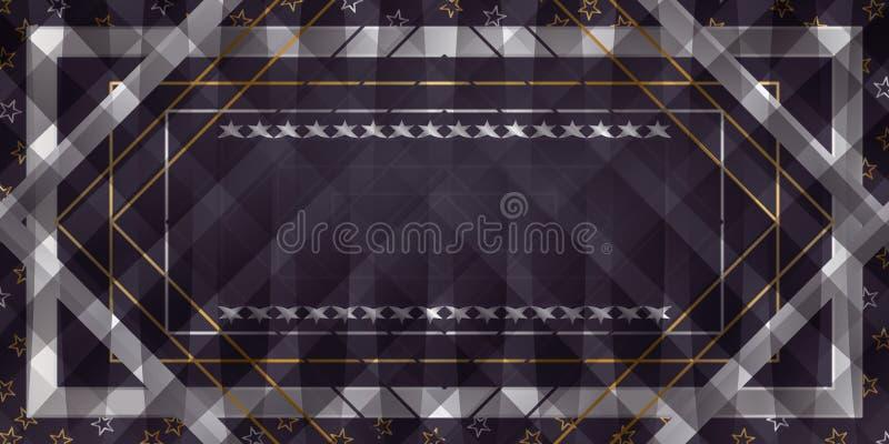 Η κορδέλλα αστεριών γιορτάζει το έμβλημα διανυσματική απεικόνιση