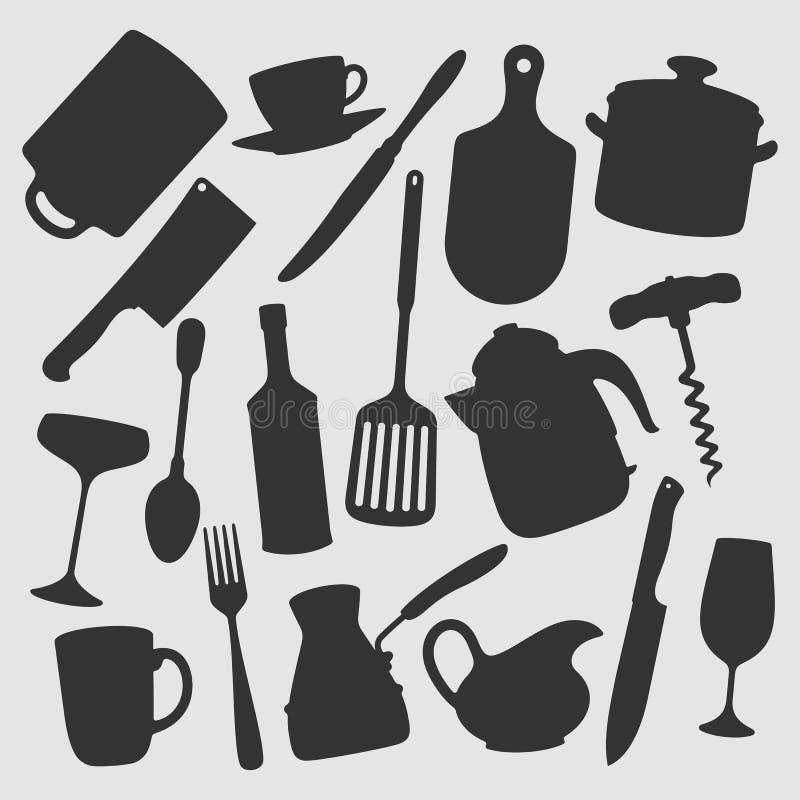Η κουζίνα αντιτίθεται διανυσματική απεικόνιση στοκ εικόνες