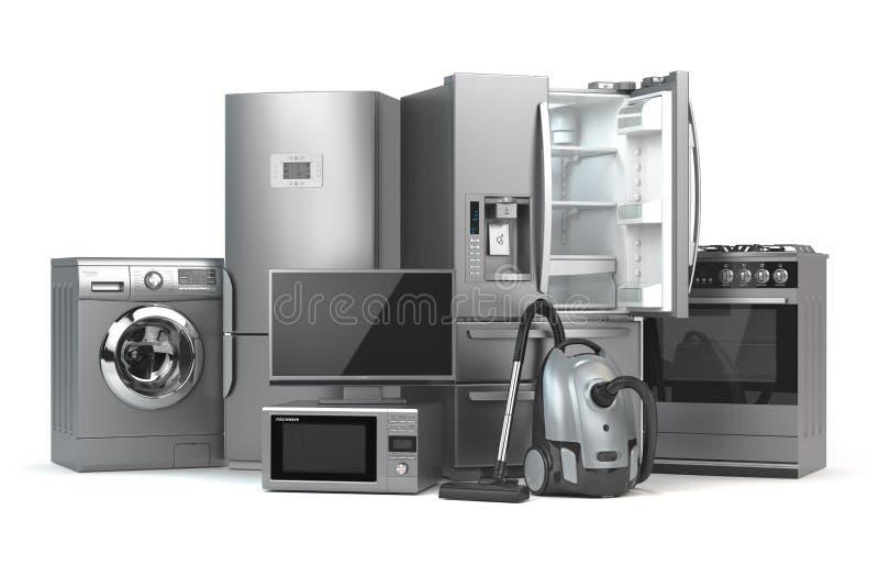 η κουζίνα βασικών εικονιδίων σχεδίου συσκευών έθεσε σας Σύνολο τεχνικών οικιακών κουζινών που απομονώνονται στο W ελεύθερη απεικόνιση δικαιώματος