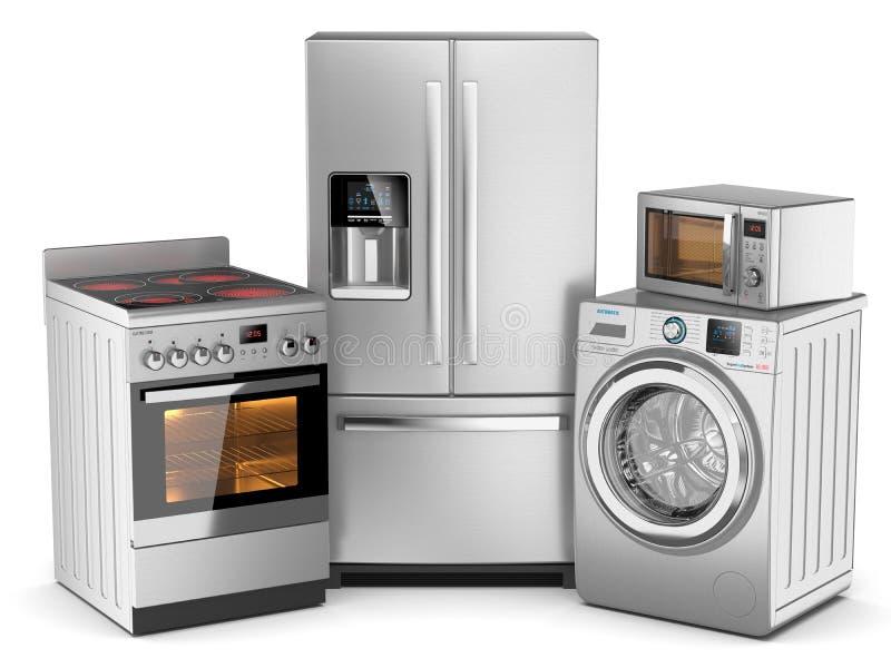 η κουζίνα βασικών εικονιδίων σχεδίου συσκευών έθεσε σας ελεύθερη απεικόνιση δικαιώματος