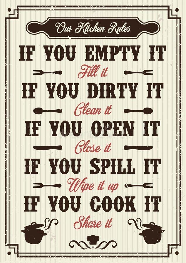 Η κουζίνα κυβερνά την αφίσα ελεύθερη απεικόνιση δικαιώματος