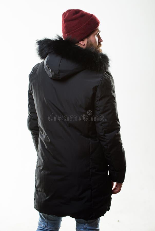 Η κουκούλα προσθέτει τη ζεστασιά και την καιρική αντίσταση Ατόμων γενειοφόρος ζακέτα σακακιών στάσεων θερμή που απομονώνεται στο  στοκ εικόνα